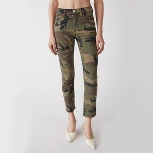 RARE RE/DONE High Rise Ankle Crop Camo Jeans Sz 30